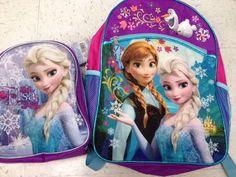 "Frozen Elsa and Anna Princess Backpack School Bag 16"" & Lunch Box Bag Sparkles #fastforward"