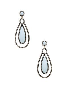 Champagne Diamond & Blue Opal Drop Earrings by Amrapali at Gilt