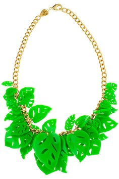 Hot House Leaves Necklace - green