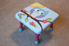 This item is a hand painted children's step stool. It is painted with non-toxic acrylic paint and then coated with multiple layers of a durable clear coat to last through the years. Etsy...ClarasCreations2011