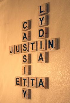 DIY> Scrabble Living Large. Family Names art project.....This is so fun!!
