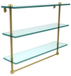 Allied Brass 16 Inch Triple Tiered Glass Shelf with Integrated Towel Bar Glass Shelves Kitchen, Bathroom Shelves, Man Cave Home Bar, Decorative Towels, Polished Brass, Solid Brass, Clever Design, Warm Grey, Walmart Shopping