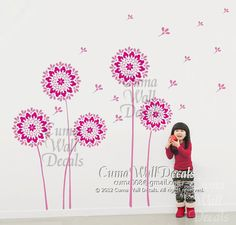 Dandelion wall decal Vinyl wall decals flower wall sticker decal Nursery room wall decal children- dandelion Z175 cuma via Etsy