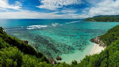 Panoramic view from Moyenne Island, Seychelles