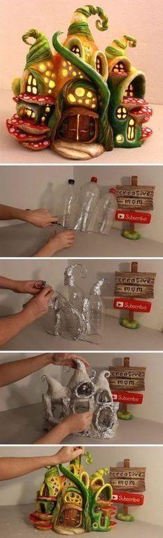 DIY verzauberte Fee-Haus-Lampe, die Koks-Plastikflaschen verwendet. #lampe #plastikflaschen #verwendet #verzauberte