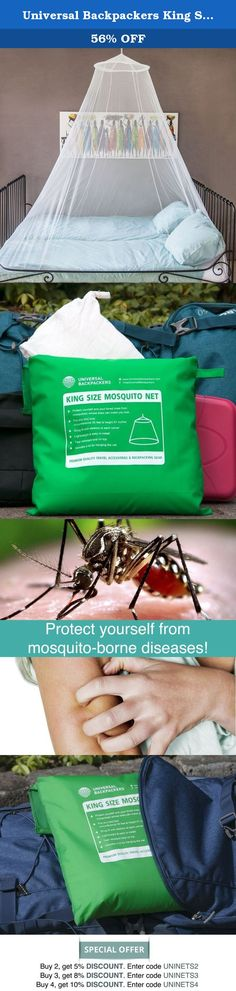 """Universal Backpackers King Size Mosquito Net With NEW Tear Resistant Loop & Snug Fit Bottom + FREE Travel Carry Bag & Bed Canopy Hanging Kit. """"This mosquito net is amazing, I love the snug fit bottom and elastic loop!"""" Are you a mosquito magnet? Our anti-mosquito net will guard you through the night. It is long enough to tuck under the mattress and wide enough to move around in your bed. Most of our customers use the pop-up net for traveling (hostels, hotels and outdoor camping) or as..."""