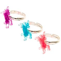 Best Friends Glittery Multi-color Unicorn Rings ($39) ❤ liked on Polyvore featuring jewelry, rings, thin rings, multi color rings, colorful rings, colorful jewelry and tri color jewelry