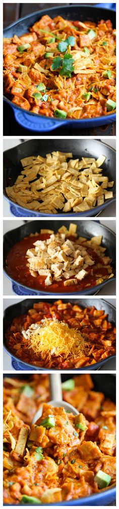 Made this it was delicious.Chicken Enchilada Skillet - An easy, no-fuss, 30 min cheesy skillet dish that the whole family will love! I Love Food, Good Food, Yummy Food, Tasty, Mexican Dishes, Mexican Food Recipes, Chicken Enchilada Skillet, Skillet Chicken, Enchilada Sauce