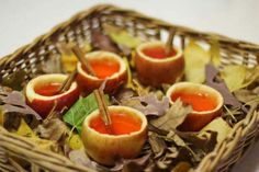 Texan Apple Cider Cups  on basket serving tray,    | 10 Ways To Bring The Great Outdoors In
