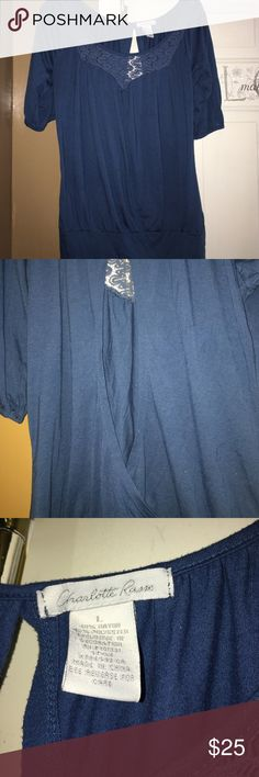 Charlotte Russe Blouse Beautiful Blue top with Lace design banded bottom and open back 50% Rayon & 50% polyester Charlotte Russe Tops Blouses