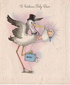 Pinboard w/vintage baby cards ~ charming ~   stork