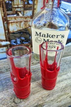 Makers Mark Whiskey Shot Glass Set. Makers Mark bottle necks create the perfect shot glasses. Surprise your whiskey lover or Makers Mark fan with a