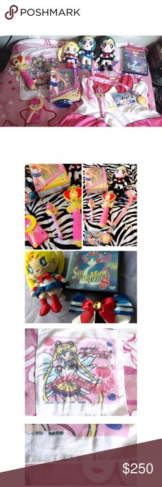 ULTIMATE SAILOR MOON BUNDLE 🌙 Bundle includes: SAILOR Pluto and Neptune Plush NWT Sailor moon Plush  Sailor Mini Moon Cosplay Dress(one size fits most) SAILOR moon Cosplay Earrings  SAILOR moon lanyard and I.D. Holder SAILOR moon bracelet  SAILOR moon RARE Action Figure Still in box SAILOR moon Plush wand  SAILOR moon 20th anniversary wand(plastic) Sailor moon Series 1 DVD Sailor moon Cosplay Bow Sailor moon Signed face cloth (signed by one of the creators of the series) Sailor moon IPhone…