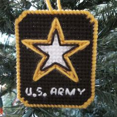 U.S. Army Christmas ornament in plastic canvas
