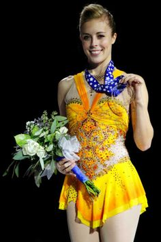 Ashley Wagner  -Orange Figure Skating / Ice Skating dress inspiration for Sk8 Gr8 Designs.