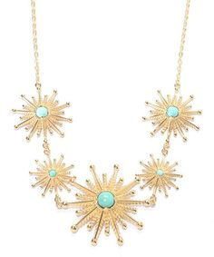 $54.99 Look at this #zulilyfind! Turquoise & Gold Starburst Bib Necklace #zulilyfinds