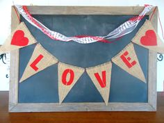 LOVE Triangle Burlap Banner Valentines Day / save the date photo prop / by SweetThymes, $19.99