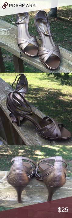 "Etienne Aigner bronze heels Like new Etienne Aigner bronze  3"" heels that are comfortable and strap around your ankle. Etienne Aigner Shoes Heels"