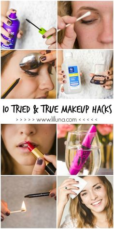 10 Tried & True Makeup Hacks that every girl should know. You'll wish you knew these, like.. Yesterday. See it on { lilluna.com }!