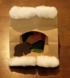 """Hibernating bear craft. Cute idea for a science lesson or literacy lesson. If you """"Go on a Bear Hunt"""" add this to your plans. All the directions at: https://homeschoolyear.wordpress.com/2012/10/12/bear-in-a-cave-craft/"""