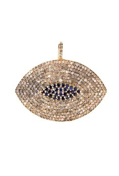 The Woods Diamond and Sapphire Encrusted Brass Evil Eye at ShopGoldyn.com
