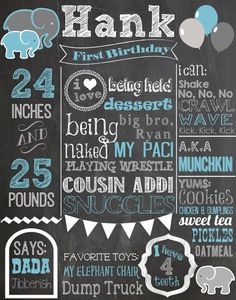 Custom First Birthday Colored Chalkboard Poster/ Invitation - Birthday Sign - Elephants-Blue-Grey-Gray-White-Bunting-Circus-Carnival-Boys on Etsy, 19,12 €