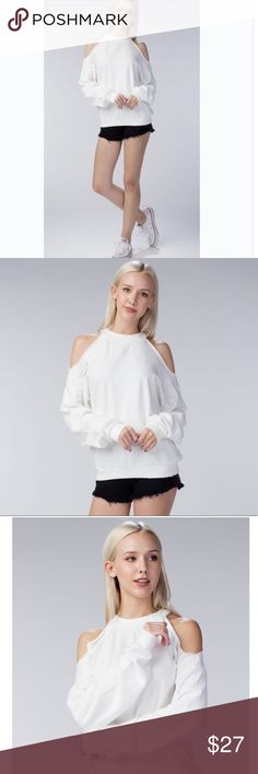 Ivory Cold Shoulder Sweatshirt With Choker Neck This cozy yet stylish relaxed fit, cold-shoulder design sweatshirt by Honey Punch has a choker neck, raw-cut edges and distressed detail is made of 100% cotton. Honey Punch       MayMaysBoutique Tops Sweatshirts & Hoodies
