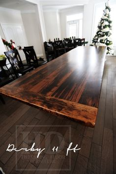Distressed Ontario Reclaimed Wood Table with epoxy finish. www.hdthreshing.com