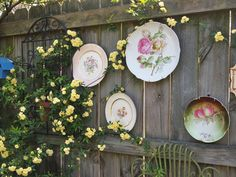 plates with flowers on them hanging on fence in garden