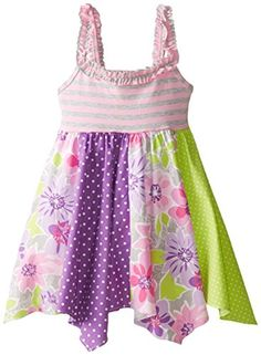 ab4d247dd Amazon.com: Bonnie Jean Little Girls' Panel Hanky Hem Sundress, Pink, 4:  Clothing