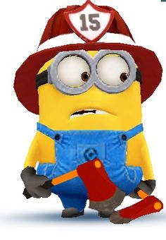 "Fireman Minion McEmber:  ""Firemen are brave and smart, their skills are honed to an art; they save people's lives - where danger lurks - in they dive!""    (Short Poem Written By: © Lynn Chateau.)"