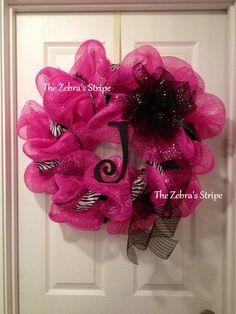 Hot Pink Zebra Wreath. $59.00, via Etsy.