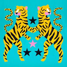 "My tigers part of Banca Sistema Private collection, as part of my solo show Feb 2017 ""Stars"" Curated by 🌟 I… Graphic Design Illustration, Graphic Design Art, Digital Illustration, Grafik Design, Art Sketchbook, Pattern Wallpaper, Cat Art, Art Inspo, Painting"