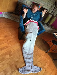 Crochet Shark Sleep and Snuggle Sack                                                                                                                                                                                 More