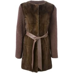 Liska contrasting front belted coat (179.505 RUB) ❤ liked on Polyvore featuring outerwear, coats, brown, belt coat, brown coat, fur coat, brown fur coat and belted coats