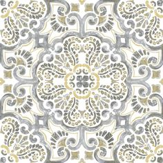 FloorPops x Multicolor Peel-and-stick Pattern Residential Vinyl Tile at Lowe's. With a hand painted design, these peel and stick tiles have a Moroccan-inspired style. Its intriguing yellow and grey palette will give bathroom and Peel And Stick Floor, Peel And Stick Vinyl, Home Depot, Self Adhesive Floor Tiles, Vinyl Style, Vinyl Tile Flooring, Hallway Flooring, Tuile, Stick On Tiles