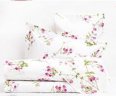Completo letto in percalle Fuchsia rosa/bianco, matrimoniale