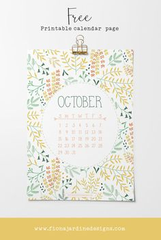 Free Printable October Calendar Page