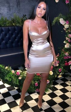 Get the perf' Insta look with our Nude Satin Cross Back Mini Dress. This luxe satin material and elegant cross back design is exactly what you need for your next hot pic opportunity. Team with classy perspex heels. Night Out Outfit Classy, Classy Sexy Dress, Girls Night Out Outfits, Sexy Outfits, Dress Outfits, Fashion Outfits, Satin Bodycon Dress, Satin Mini Dress, Satin Dresses