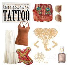 """golden tattoo"" by suzannekobb on Polyvore featuring beauty, Orelia, IPANEMA, Dex, Essie, Monki and temporarytattoo"