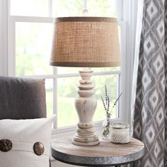 Rustic Distressed Cream Table Lamp