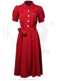 40s Shirt Waister Dress - Red