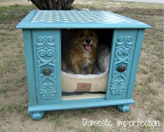 Old End Table...re-purposed into an awesome painted & renewed end table/dog bed!! Cute!