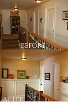 Picture Frame Molding tutorial...this makes a huge difference in the type of the old-homey style! Upstairs hallway