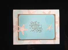 Starfish and shell stamps with Cricut Life's a Beach die cut.