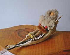 Caribou Jawbone Dog Sled, With Doll, Vintage Inuit Art Wood Owls, Inuit Art, Christmas Gifts For Him, Made Of Wood, Sled, Vintage Wood, Trinket Boxes, Handicraft, Valentine Gifts