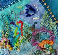 Under the Sea Crazy Quilt Created by Barbara Nicki Lee Seavey / Raviolee Dreams 2015 - Visuell Crazy Quilt Stitches, Crazy Quilt Blocks, Patch Quilt, Crazy Quilting, Beaded Embroidery, Embroidery Stitches, Embroidery Patterns, Hand Embroidery, Quilt Patterns