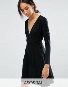 ASOS TALL Mini Wrap Tea Dress With Long Sleeve