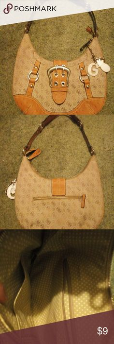 Vintage Guess Purse Vintage Guess handbag in beige with genuine leather  embellishments. Sitting in storage 0a848d9a0c937