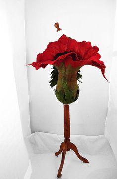 Felted Bag Handbag Poppy Purse wild Felt Nunofelt Nuno door filcant